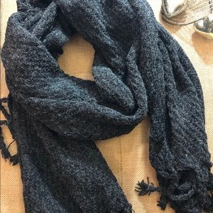 Charcoal Wool Scarf With Tassels. 22 x 80 in